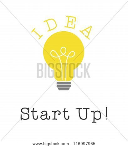 Start up idea and bulb light on white background. Vector illustration.