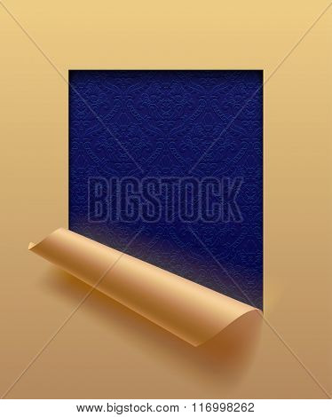 Beige paper sheet cut framed  and partially rolled up with ornamental dark blue background. The lower background is on separate layers by easy change to another