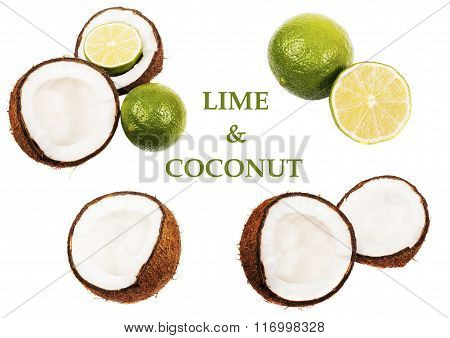 Coconut and lime isolated on white background