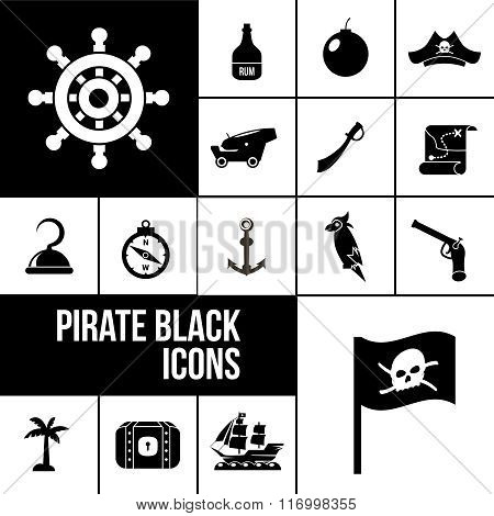 Pirate icons black set with rum bottle, bomb, saber isolated vector illustration