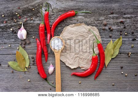 Vegetables And Spices With Copy Space On Wooden Background. Chili, Salt, Pepper, Bay Leaf, Garlic