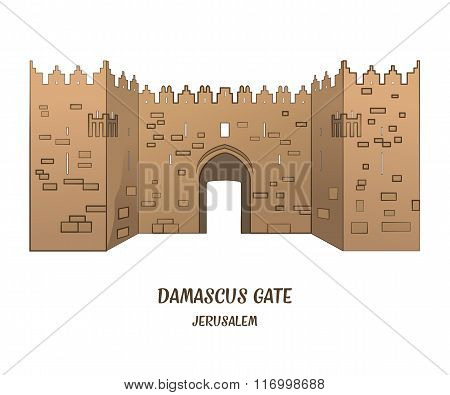 Damascus Gate In Jerusalem. Vector