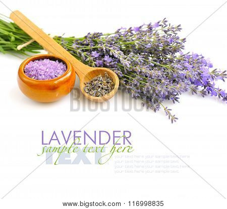 Bath Salt For Aromatherapy And Fresh Flowers Lavender