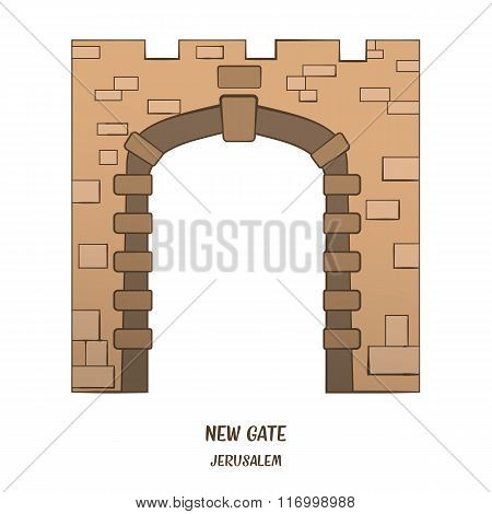 New Gate In Jerusalem. Vector