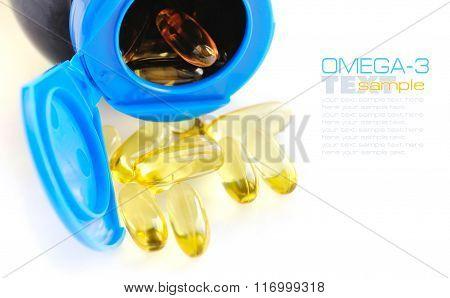 Omega-3 Capsules On White Background