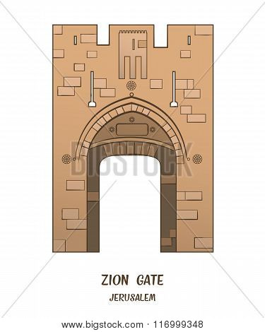 Zion Gate In Jerusalem. Vector
