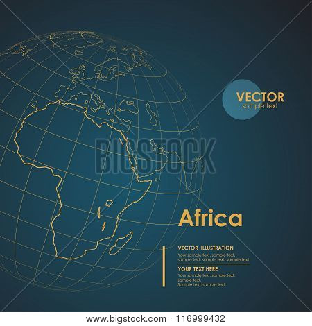 Illustration Earth map of Africa. Modern business line vector ba