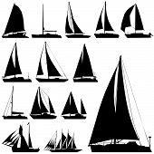 image of sail-boats  - set of sea transportation silhouette illustration design vector - JPG