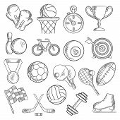 Постер, плакат: Sport and fitness sketch icons of game items