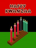 stock photo of unity candle  - kwanzaa kinara with The Black Liberation Flag as backdrop - JPG