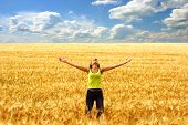 stock photo of independent woman  - happy young woman in the yellow field under blue sky - JPG