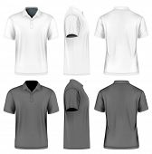 Mens slim-fitting short sleeve polo shirt. Front, back and side views. White and black variants. Ve poster