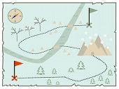 Illustration of creative treasure map flat winter design poster
