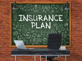 Insurance Plan Concept. Doodle Icons on Chalkboard. poster