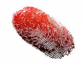 foto of serial killer  - a red finger print with a plain white background - JPG