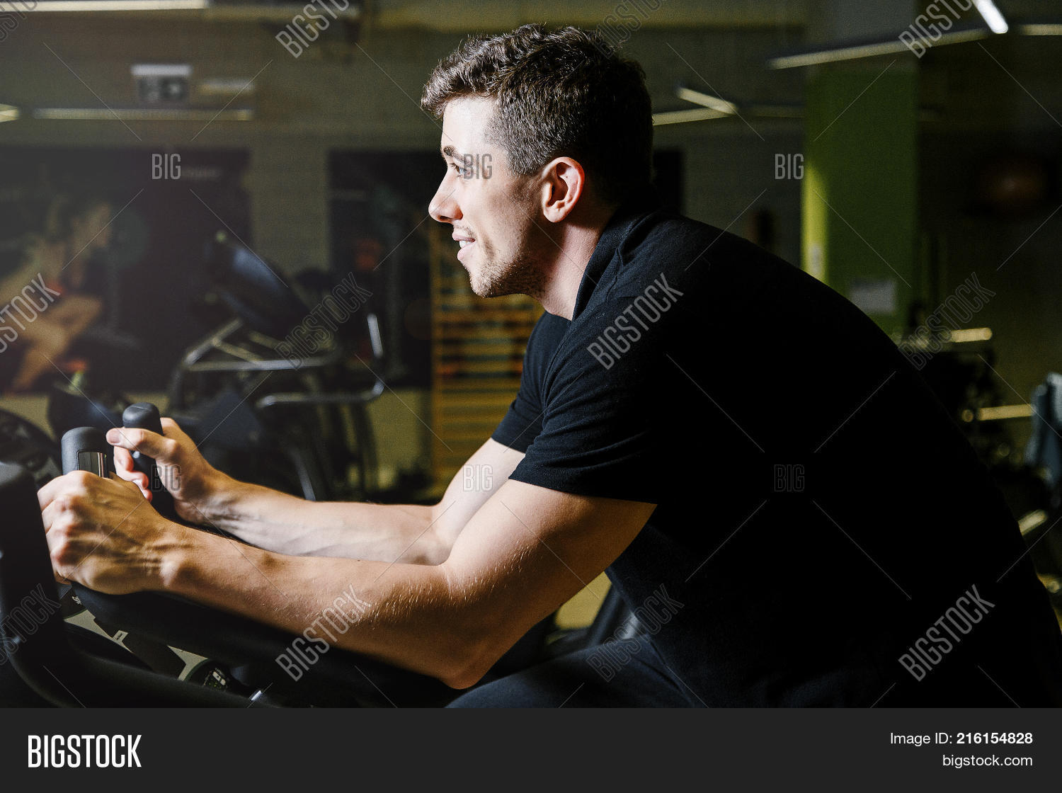 Boy On Stationary Bike Man Engaged Image Photo Bigstock