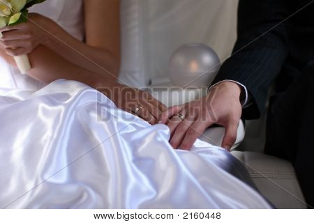 The Bride And The Groom Touch With Hand