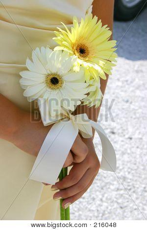 Bridal Attendant Holding Flowers