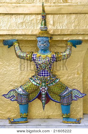 Mythological Figure Of The Indian Epic Ramayana, Guarding The Buddhist Temple In The Grand Palace, B