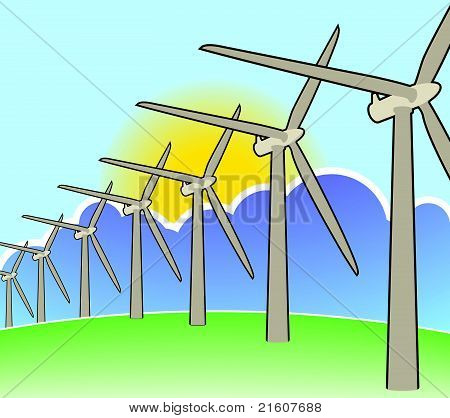 Wind turbines disappearing over horizon