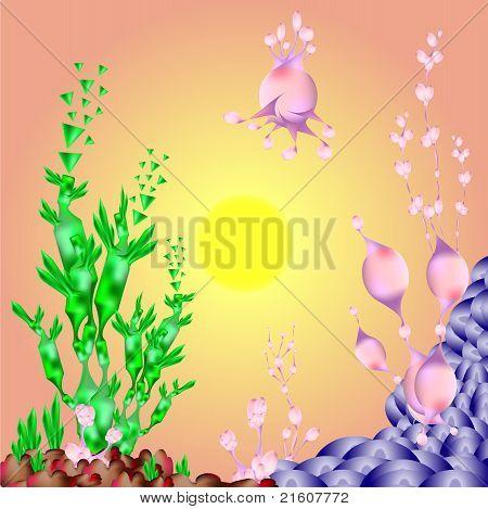Fantasy garden vector art illustration