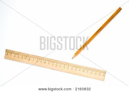 Wooden Ruler And Pencil
