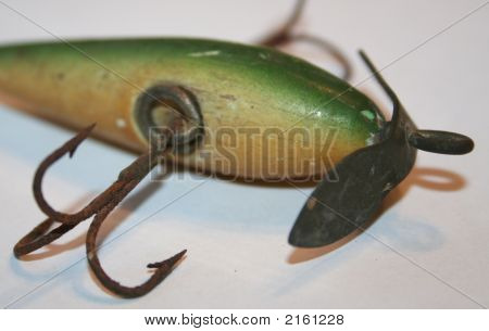 Antique Fishing Lure Green Back