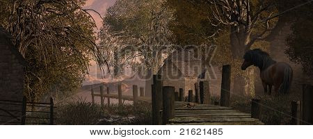Farm Scene And Old Pier
