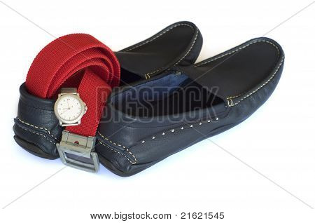 Navy Mocassins With Red Belt And Silver Watch