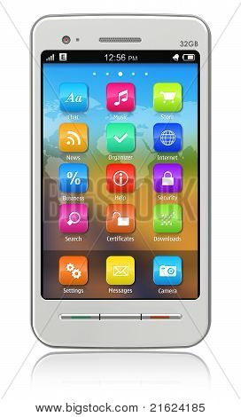 White touchscreen smartphone