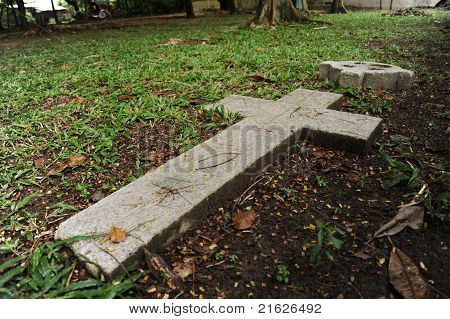Single Cross at the grave