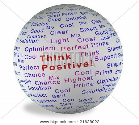 Illustration ball with inscription Think Positive