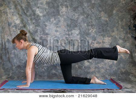 Woman Doing Yoga One Leg Table Pose Left