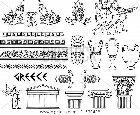Greece architecture and ornaments vector set