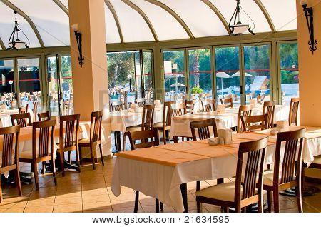 Empty Restaurant Awaiting Visitors.