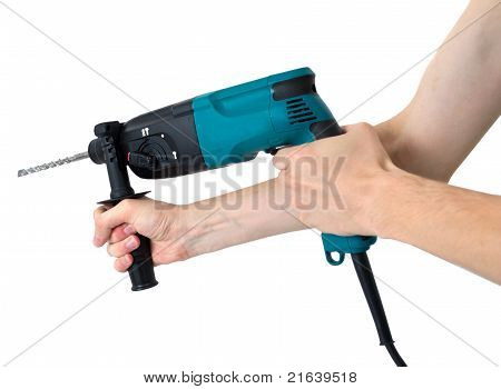 Perforator In Hands  Isolated On A White Background