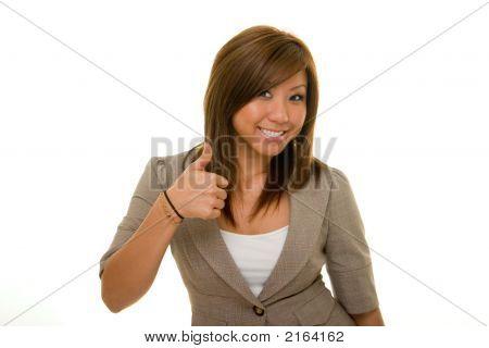 Negocio hermosa mujer pulgar arriba 2