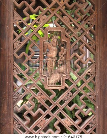Old Chinese Wooden Lattice Window