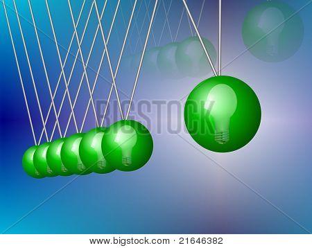 Green Newton's cradle
