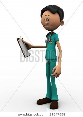 Cartoon Doctor Holding A Clipboard.
