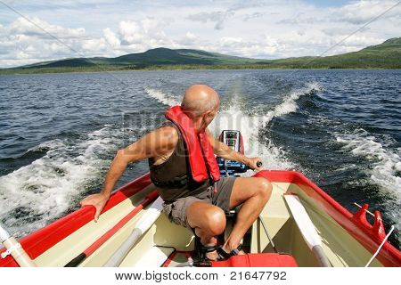 Man in a motorboat