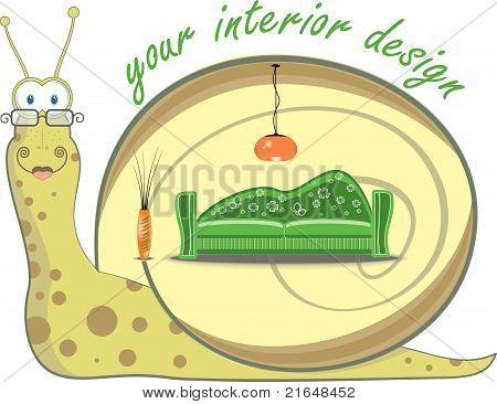 Snail and interior design, vector illustration
