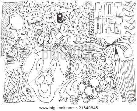 Hand drawn pig doodles