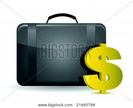 Money bag illustration concept over white