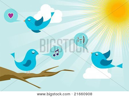 Birds At Social Media Sunrise