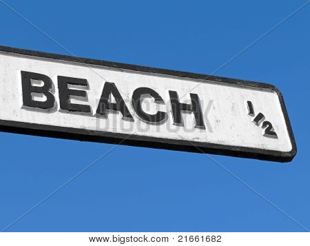 Old English Signpost To The Beach.