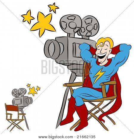 An image of a superhero star sitting in a directors chair and movie camera.