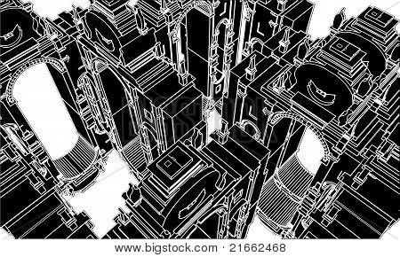 Resumen ecléctico edificio construcción Vector