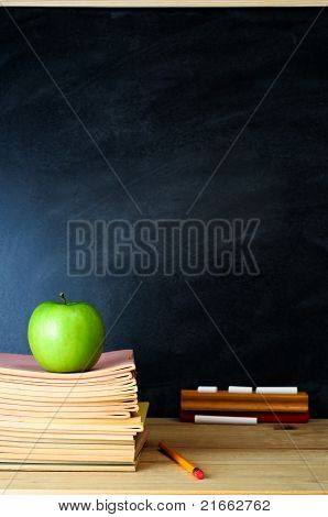 Teacher's Desk And Chalkboard