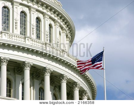 Capitol Dome With Flag